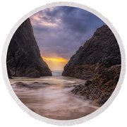 Round Beach Towel featuring the photograph Seal Rock 2 by Jacqui Boonstra