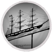 Round Beach Towel featuring the photograph Seaman's Bethel Weathervane  by Kathy Barney