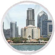 Seaport Village And Downtown San Diego Watercolor Round Beach Towel