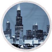 Round Beach Towel featuring the photograph Sears Tower In Blue by Sebastian Musial