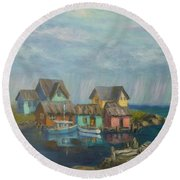 Seascape Boat Paintings Round Beach Towel