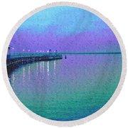 Painterly Seascape Purple Flurry Round Beach Towel