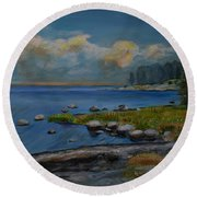 Seascape From Hamina 2 Round Beach Towel