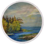 Seascape From Hamina 3 Round Beach Towel