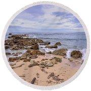 Seascape With Rocks Round Beach Towel
