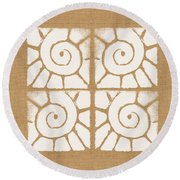 Seashell Tiles Round Beach Towel