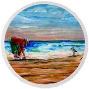 Seashells By The Seashore Round Beach Towel