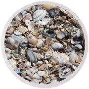 Seashells On The Beach Round Beach Towel