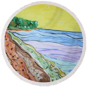 Round Beach Towel featuring the painting Seashore Bright Sky by Stormm Bradshaw