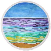 Round Beach Towel featuring the painting Seashore Blue Sky by Stormm Bradshaw