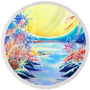 Seashore In The Moonlight Round Beach Towel