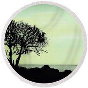 Round Beach Towel featuring the drawing Seashore Silhouette by D Hackett
