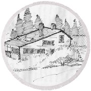 Seaside Cottage Monhegan Island 1993 Round Beach Towel