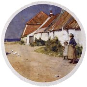 Seaside Cottages With Dovecot Round Beach Towel by Edward Arthur Walton