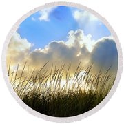 Seaside Grass And Clouds Round Beach Towel