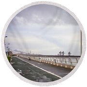 Seaside Walkway Round Beach Towel