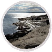 Round Beach Towel featuring the photograph Seasider by Mim White