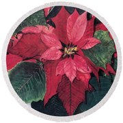 Round Beach Towel featuring the painting Seasonal Scarlet 2 by Barbara Jewell