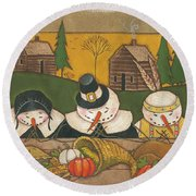 Seasonal Snowman Xi Round Beach Towel