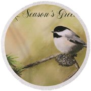 Season's Greetings Chickadee Round Beach Towel