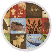 Seasons Lodge Round Beach Towel by Debbie DeWitt