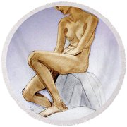 Seated Female Nude Dreaming Round Beach Towel