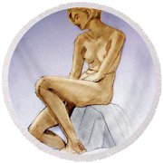 Tinted Figure Drawing Of A Seated Female Nude Dreaming Round Beach Towel