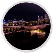 Seattle Bend Round Beach Towel by Chad Dutson