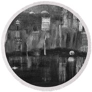 Seattle Black And White Round Beach Towel