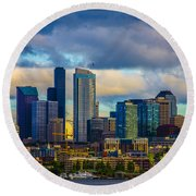 Seattle Cityscape Round Beach Towel