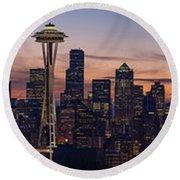 Seattle Cityscape Morning Light Round Beach Towel