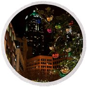 Seattle Downtown Christmas Time Art Prints Round Beach Towel
