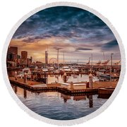Seattle Marinescape. Round Beach Towel