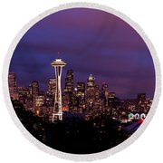 Seattle Night Round Beach Towel by Chad Dutson