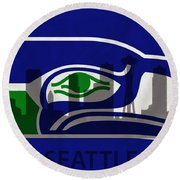 Seattle Seahawks On Seattle Skyline Round Beach Towel by Dan Sproul
