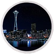 Seattle Skyline At Night With Full Moon Round Beach Towel