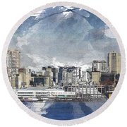 Seattle Skyline Freeform Round Beach Towel