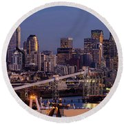 Seattle Skyline From Magnolia At Dusk Round Beach Towel