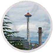 Seattle Spaceneedle Golden Anniversary Art Prints Round Beach Towel by Valerie Garner