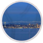 Round Beach Towel featuring the photograph Seattle Surrounded By Blue by E Faithe Lester