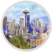 Seattle View In Watercolor Round Beach Towel