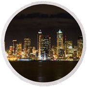 Seattle Waterfront At Night Panoramic Round Beach Towel