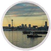 Seattles Working Harbor Round Beach Towel