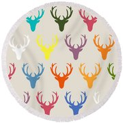 Seaview Simple Deer Heads Round Beach Towel