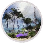 Seaview Terrace Round Beach Towel