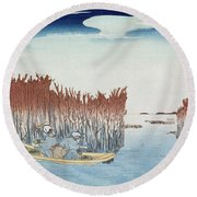 Seaweed Gatherers At Omari Round Beach Towel