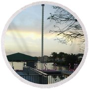 Round Beach Towel featuring the photograph Seaworld Skytower by David Nicholls