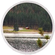 Round Beach Towel featuring the photograph Secluded Cabin by Mary Carol Story