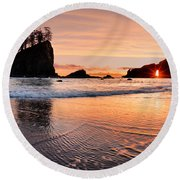 Second Beach Sunset Round Beach Towel by Leland D Howard
