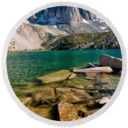 Second Lake And Temple Crag Round Beach Towel